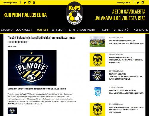 KUPSin verkkosivujen mainosteksti PlayOff: Haluatko jalkapallotähdeksi? -ohjelmasta.