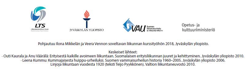 Pohjautuu Ilona Mikkelän ja Veera Vennon soveltavan liikunnan kurssityöhön 2018, Jyväskylän yliopisto.  Keskeiset lähteet: Outi Kaurala ja Anu Väärälä: Erityisestä kaikille avoimeen liikuntaan. Suomalaisen erityisliikunnan juuret ja kehittyminen. Jyväskylän yliopisto 2010. Leena Kummu: Kummajaisesta huippu-urheiluksi. Suomen vammaisurheilun historia 1960-2005. Jyväskylän yliopisto 2006. Linjoja liikuntaan vuodesta 1920 (teksti Teijo Pyykkönen). Valtion liikuntaneuvosto 2010.