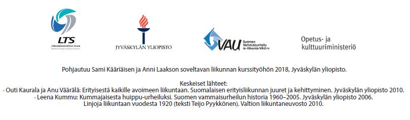 Pohjautuu Sami Kääriäisen ja Anni Laakson soveltavan liikunnan kurssityöhön 2018, Jyväskylän yliopisto. Keskeiset lähteet: Outi Kaurala ja Anu Väärälä: Erityisestä kaikille avoimeen liikuntaan. Suomalaisen erityisliikunnan juuret ja kehittyminen. Jyväskylän yliopisto 2010. Leena Kummu: Kummajaisesta huippu-urheiluksi. Suomen vammaisurheilun historia 1960-2005. Jyväskylän yliopisto 2006. Linjoja liikuntaan vuodesta 1920 (teksti Teijo Pyykkönen). Valtion liikuntaneuvosto 2010.