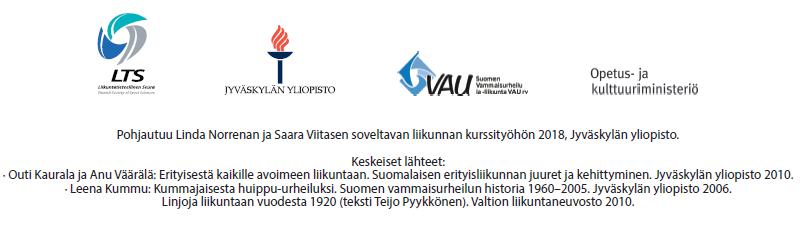 Pohjautuu Linda Norrenan ja Saara Viitasen soveltavan liikunnan kurssityöhön 2018, Jyväskylän yliopisto. Keskeiset lähteet: Outi Kaurala ja Anu Väärälä: Erityisestä kaikille avoimeen liikuntaan. Suomalaisen erityisliikunnan juuret ja kehittyminen. Jyväskylän yliopisto 2010. Leena Kummu: Kummajaisesta huippu-urheiluksi. Suomen vammaisurheilun historia 1960-2005. Jyväskylän yliopisto 2006. Linjoja liikuntaan vuodesta 1920 (teksti Teijo Pyykkönen). Valtion liikuntaneuvosto 2010.