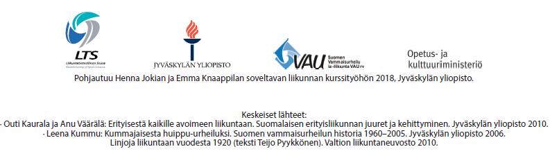 Pohjautuu Henna Jokian ja Emma Knaappilan soveltavan liikunnan kurssityöhön 2018, Jyväskylän yliopisto. Keskeiset lähteet: Outi Kaurala ja Anu Väärälä: Erityisestä kaikille avoimeen liikuntaan. Suomalaisen erityisliikunnan juuret ja kehittyminen. Jyväskylän yliopisto 2010. Leena Kummu: Kummajaisesta huippu-urheiluksi. Suomen vammaisurheilun historia 1960-2005. Jyväskylän yliopisto 2006. Linjoja liikuntaan vuodesta 1920 (teksti Teijo Pyykkönen). Valtion liikuntaneuvosto 2010.