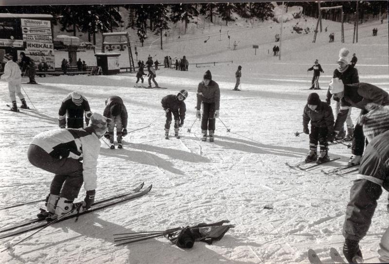 Lasketteluleiri Laajavuorella 1990-luvun alussa. Kuva: VAU ry:n arkisto.