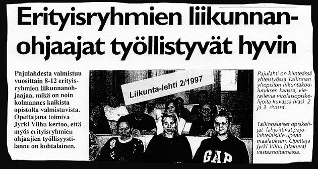 Lehtileike, Liikunta-lehti 2/1997: Erityisryhmien liikunnan ohjaajat työllistyvät hyvin.