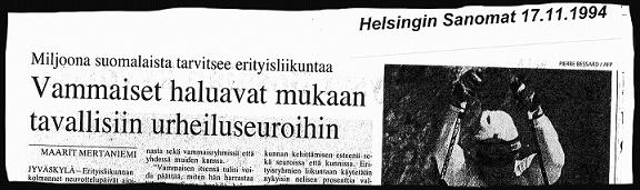 Lehtileike, Helsingin Sanomat 17.11.1994: Vammaiset haluavat mukaan tavallisiin urheiluseuroihin.