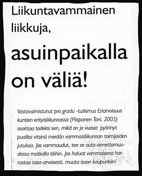 Lehtileike, SIU Sportti 3/2003: Liikuntavammainen liikkuja, asuinpaikalla on väliä!