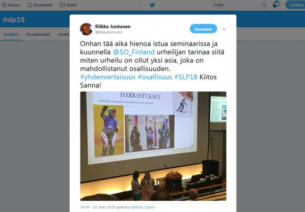 Sanna Sepposelle urheilu on lisännyt osallisuutta. Kuvakaappaus VAU ry:n toiminnanjohtaja Riikka Juntusen twiitistä. Soveltavan liikunnan päivien keskusteluita ja tunnelmia löydät Twitteristä hashtagilla #SLP18.