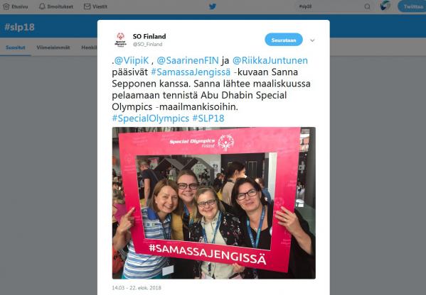 Kuvakaappaus Special Olympics Finlandin twiitistä. Soveltavan liikunnan päivien keskusteluita ja tunnelmia löydät Twitteristä hashtagilla #SLP18.
