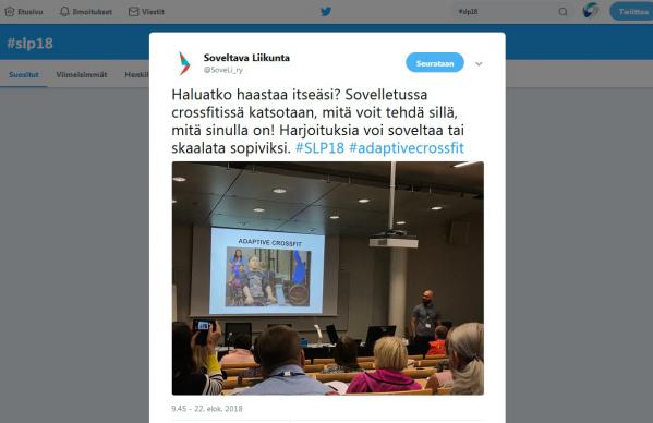 Kuvakaappaus SoveLi ry:n twiitistä.