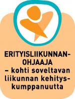 """""""Erityisliikunnanohjaaja – Kohti soveltavan liikunnan kehityskumppanuutta"""" -hankkeen logo, pystymallinen tekstillä."""